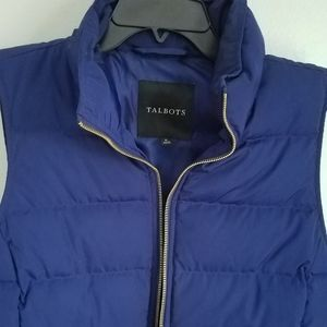 Talbots Navy Blue Puffer Vest with Gold Zipper